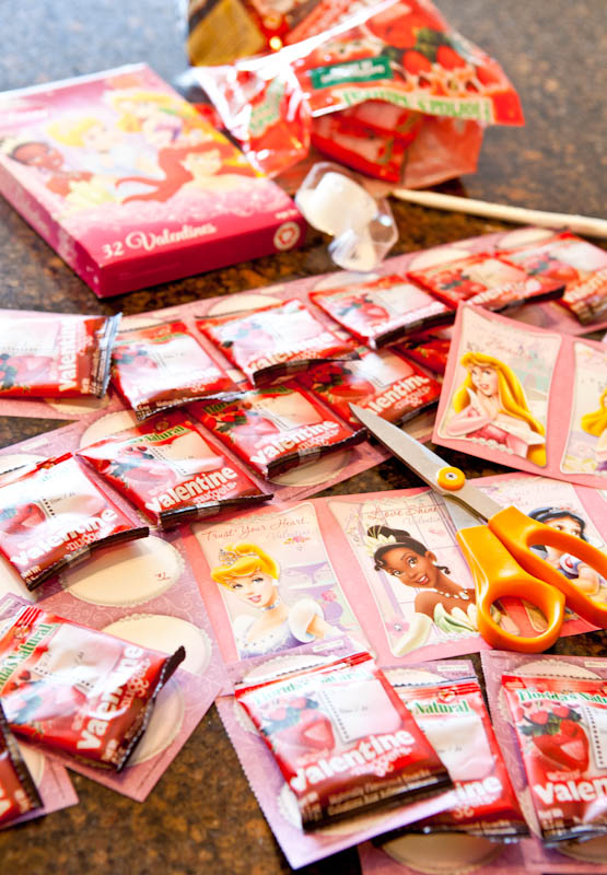 Kids valentines cards and candy packets