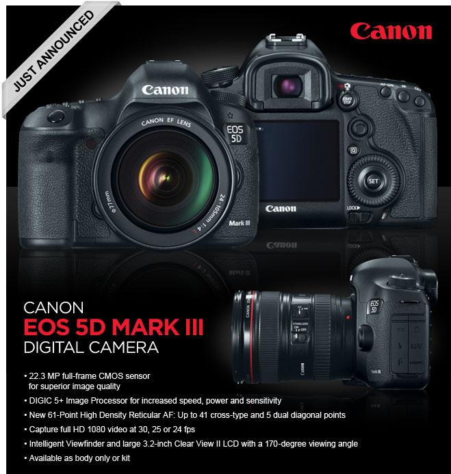 Canon 5D Mark III digital camera advertisement