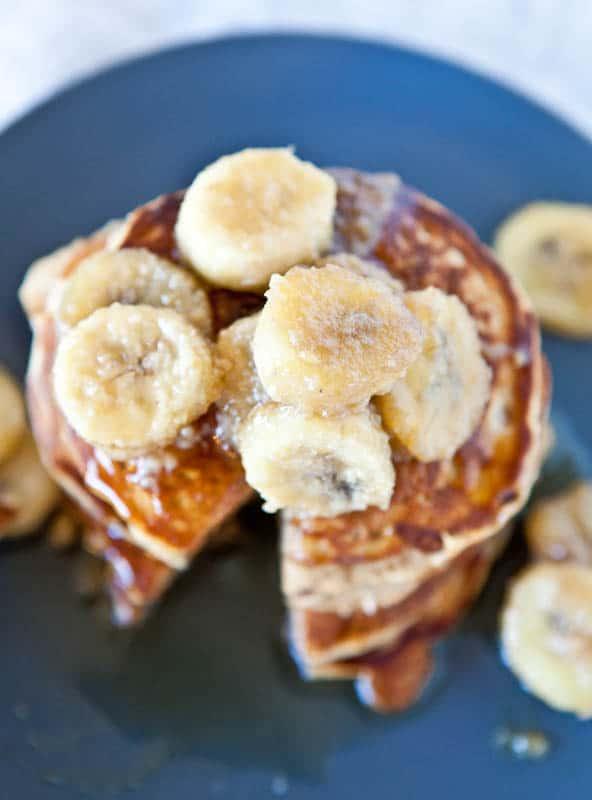 Caramelized bananas on pancakes