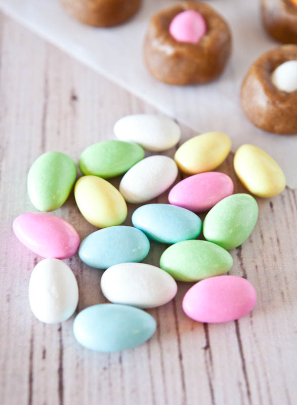 Colorful candy-coated almonds