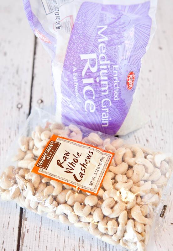 Bag of medium grain rice and raw whole cashews