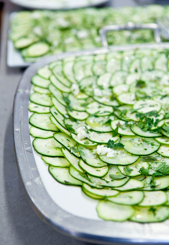 Plate of thinly sliced cucumbers