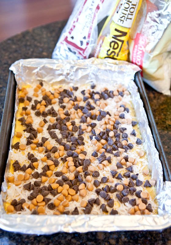 Yellow cake mix with chocolate and butterscotch chips and on bottom of pan