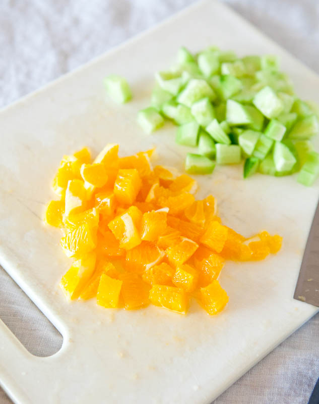 Oranges and cucumbers diced
