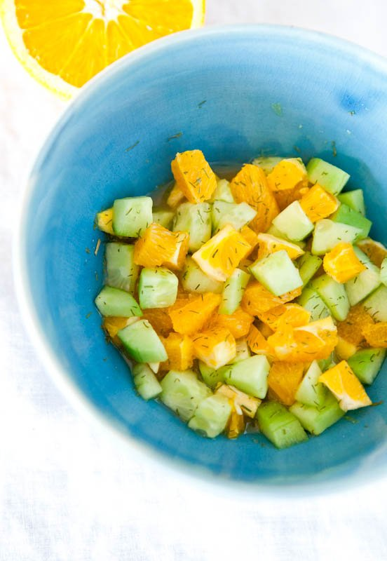 Oranges, cucumbers, dill, and mustard