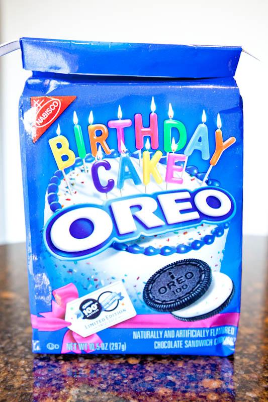 Bag of birthday cake oreos