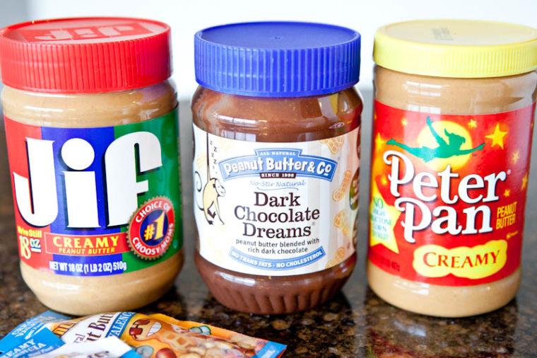 Jif peanut butter, dark chocolate butter, and peter pan peanut butter