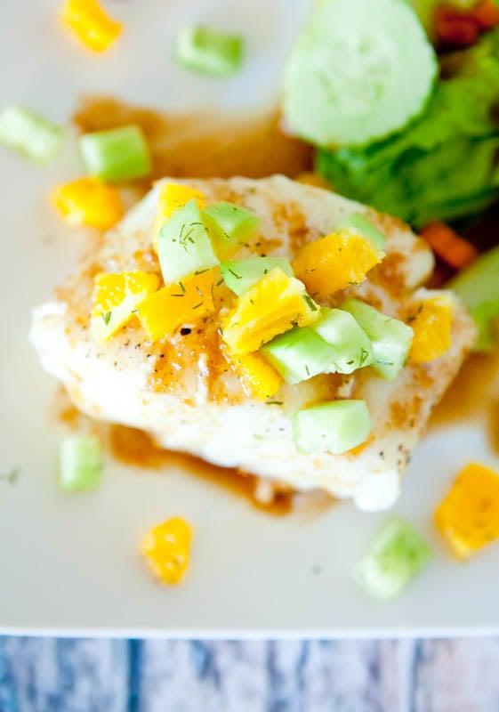Orange Glazed Chilean Sea Bass with Dill Cucumber & Orange Champagne Relish