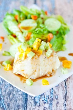 Orange Glazed Chilean Sea Bass with Dill Cucumber & Orange Champagne Relish