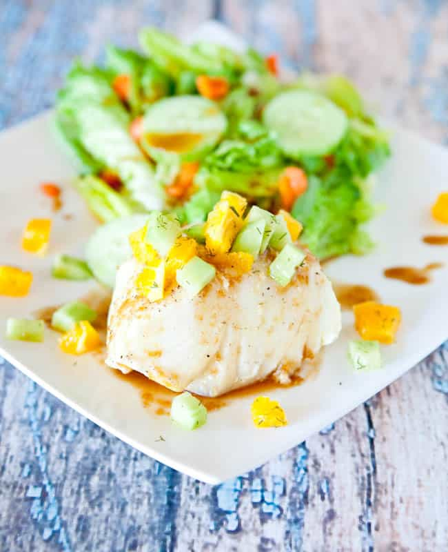 Orange Glazed Chilean Sea Bass with Mustard Dill Cucumber and Orange Champagne Relish
