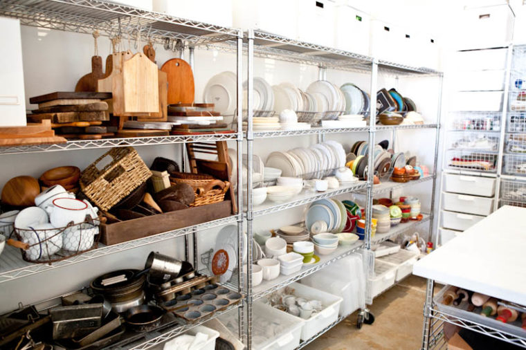 Shelves of cooking supply props
