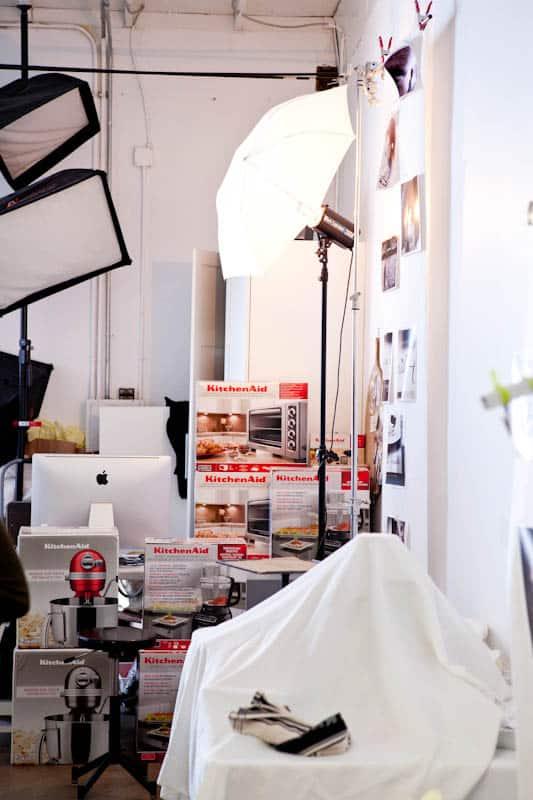 Photoshoot studio with kitchenaid products
