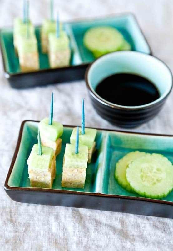 Tempeh and Cucumber Skewers and balsamic reduction