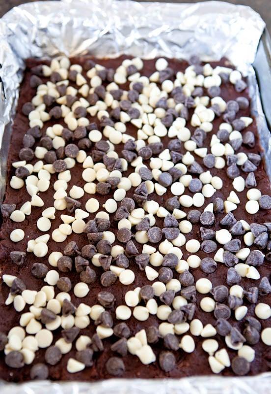 White and Dark Chocolate Cream Cheese Chocolate Cake Bars - Averie ...