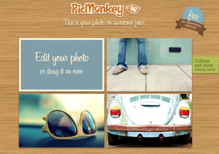 Picmonkey photo editor front page