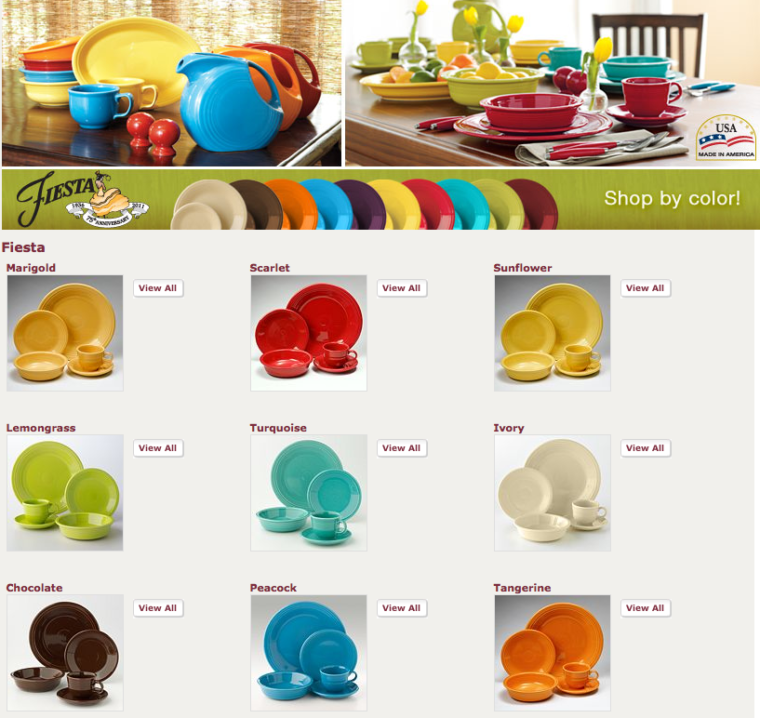 Fiesta plate listing with many colors