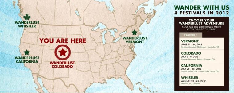 Wanderlust festival North America Map