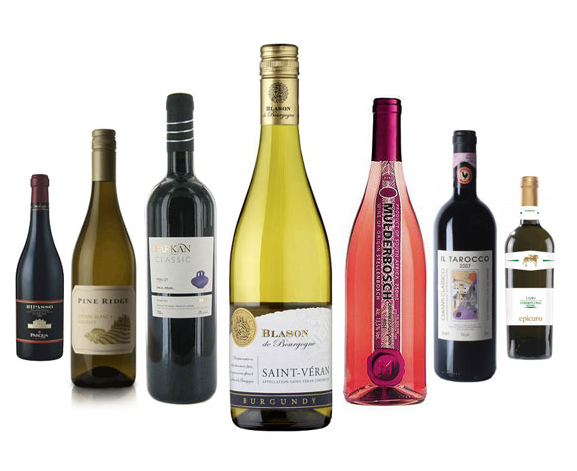 Seven different bottles of wine