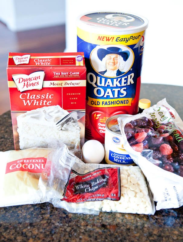 Spread of ingredients cake mix oats and chocolate chips
