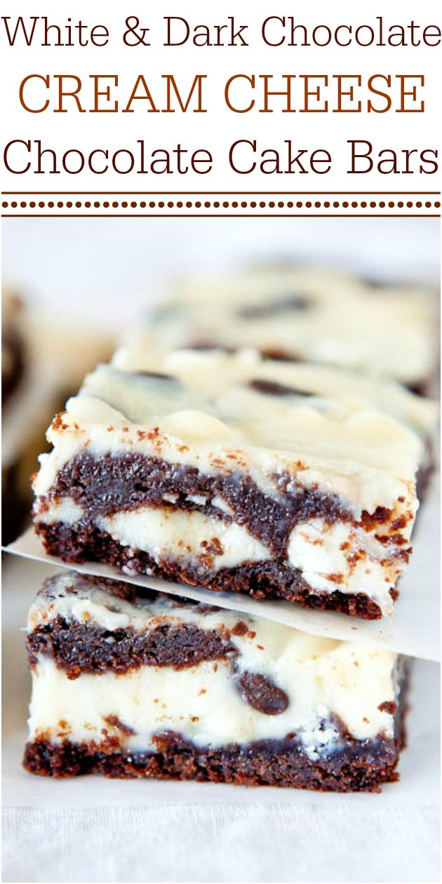 Chocolate Cream Cheese Cake Bars —Rich chocolate cake with chocolate chips, white chocolate chips, and filled with cream cheese. These bars are always a hit at parties and are fast, easy and foolproof!