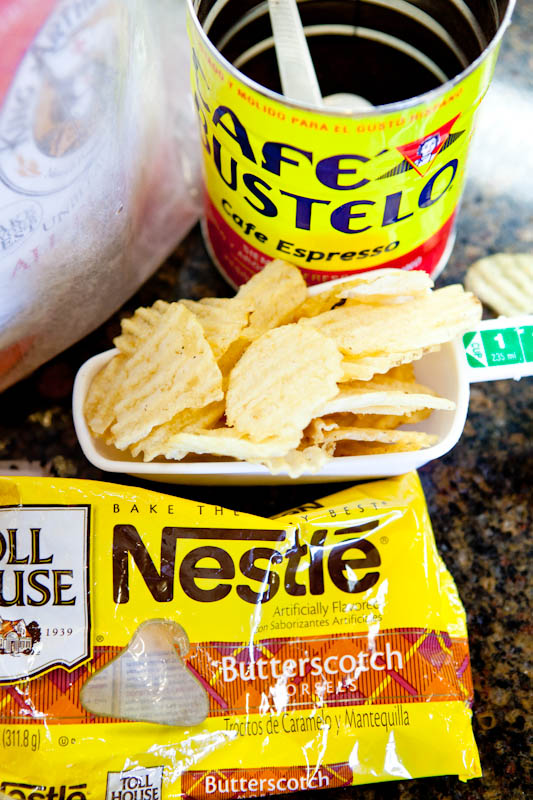 Cafe bustelo coffee, chips, and butterscotch chips