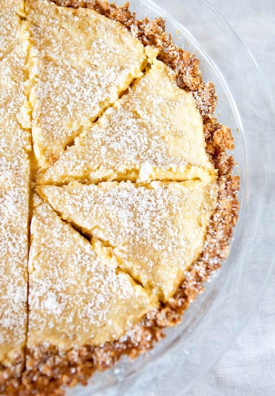 Milk Bar crack pie in a glass pie plate
