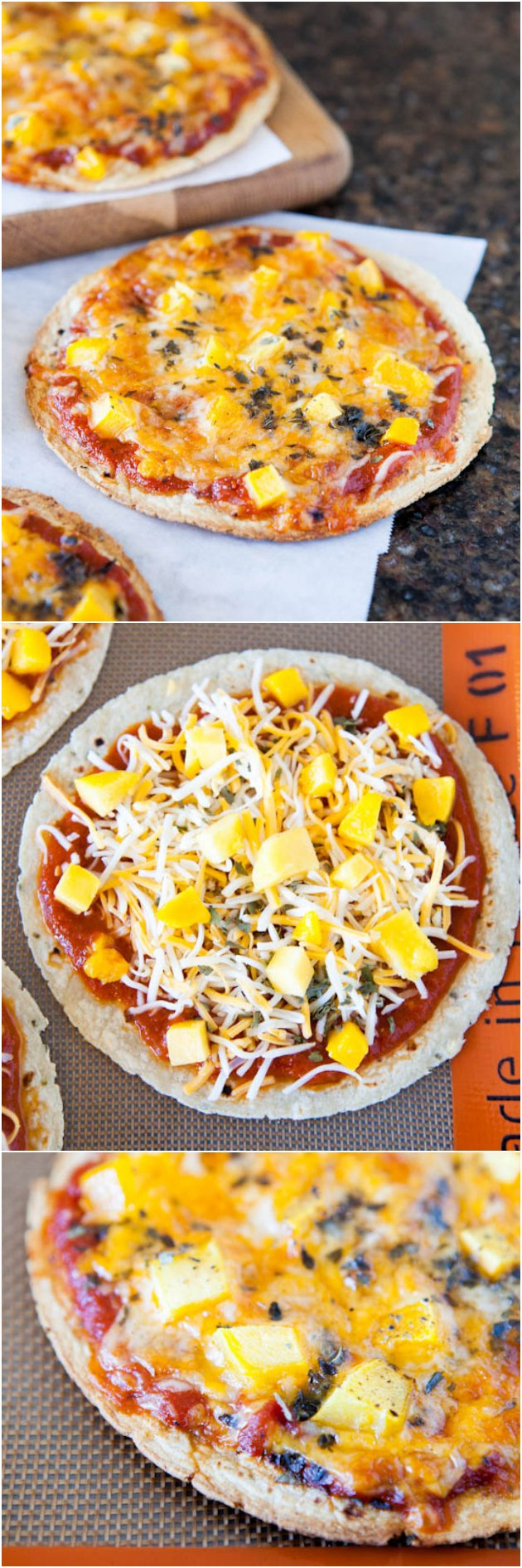 Mango Basil Personal-Sized Tortilla Pizzas - Pizzas made with a tortilla crust cook faster and are lighter to help you stay on track! Customize your pizza with your favorite toppings.