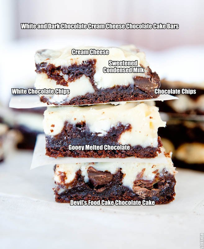 stack of three chocolate cake bars with cream cheese filling