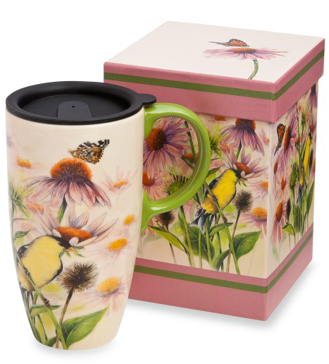 Butterfly 19-ounce Ceramic Travel Mug with Lid and butterfly box