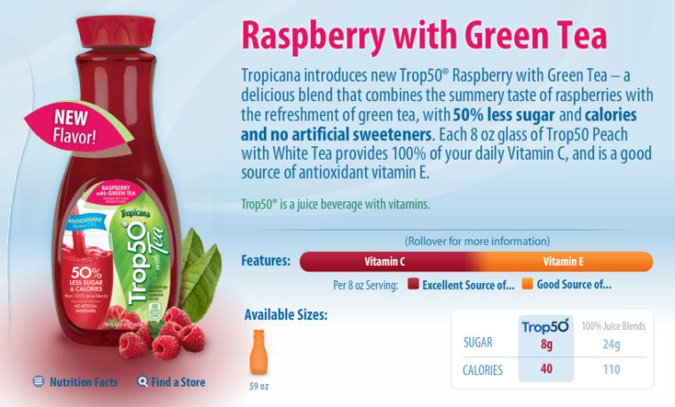 Raspberry with green tea Trop50 advertisement