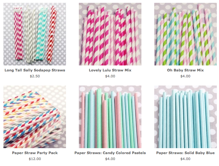 colorful straws listed on website