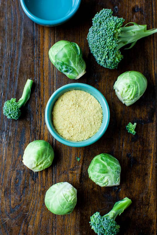Brussels's Sprouts & Broccoli with Cheezy Coconut Sauce