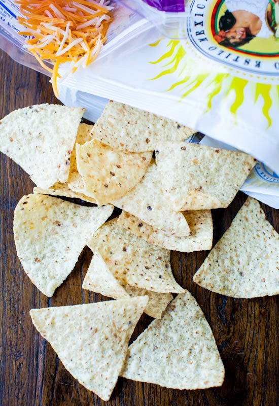 Santitas white corn triangles falling out of bag