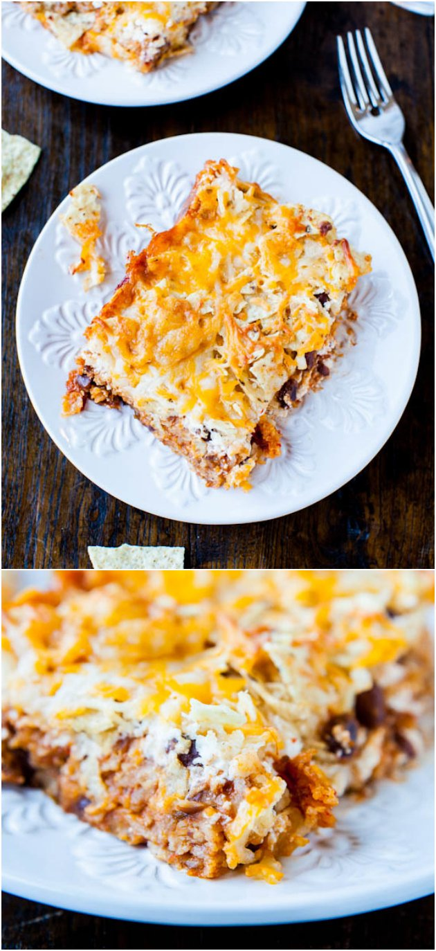 Chips and Cheese Chili Casserole (vegetarian/GF) - Think chili nachos that meet a pan of lasagna on the way to the oven.  An easy, hearty satisfying dish the whole family loves. Perfect for Superbowl parties!