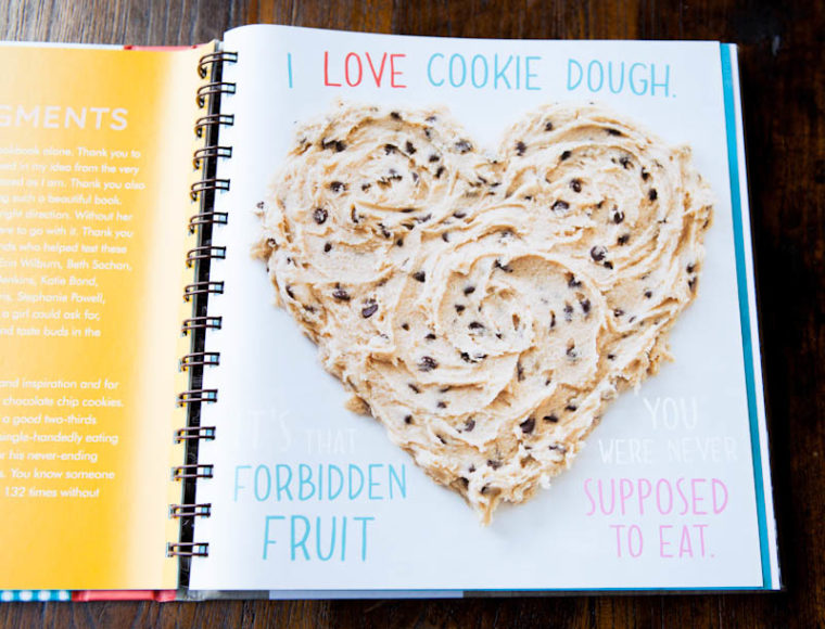 Page spread of I love cookie dough heart