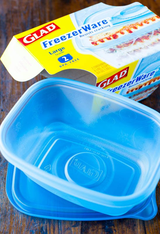Glad Freezerware container with blue lid