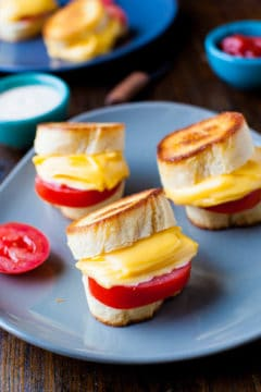 Mini Grilled Cheese and Tomato Sandwiches