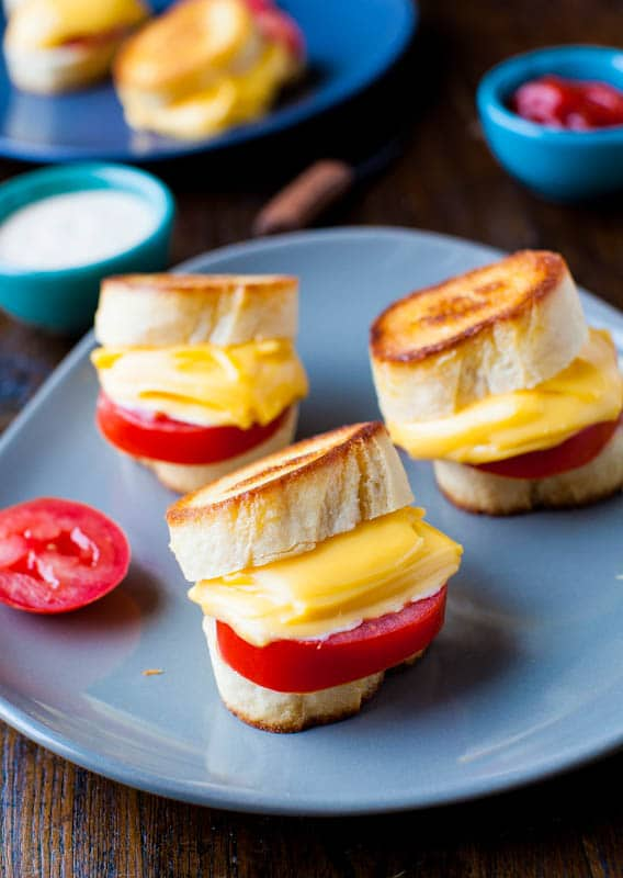 Mini Grilled Cheese and Tomato Sandwiches - Mini food always tastes better! Perfect party appetizers!