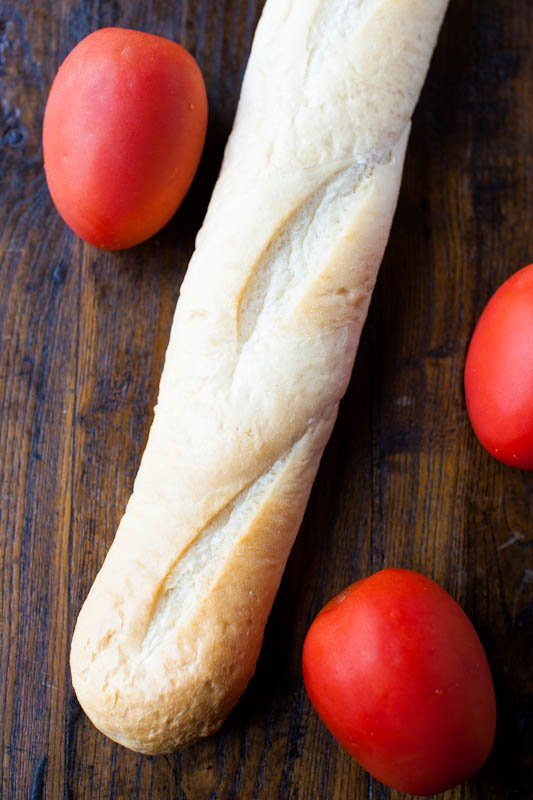 Mini tomatoes and baguette