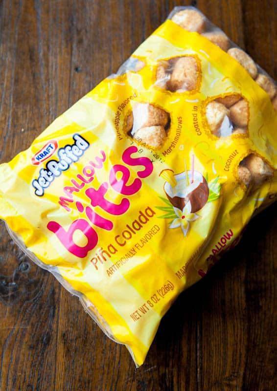 Bag of Jet-puffed marshmallow pina colada bites
