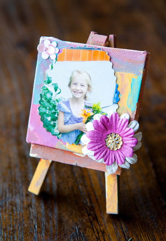 Picture of skylar on painted mini canvas