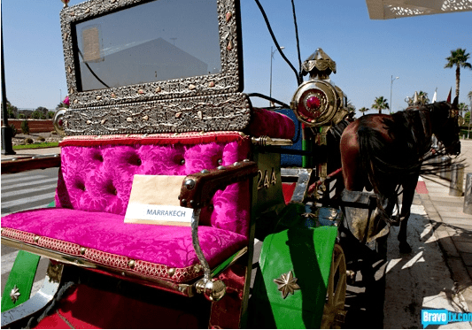 Back of horse-drawn float with pink couch