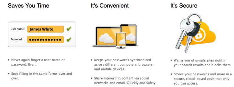 Norton Identity Safe advertisement: Saves you Time, It's Convenient, It's Secure