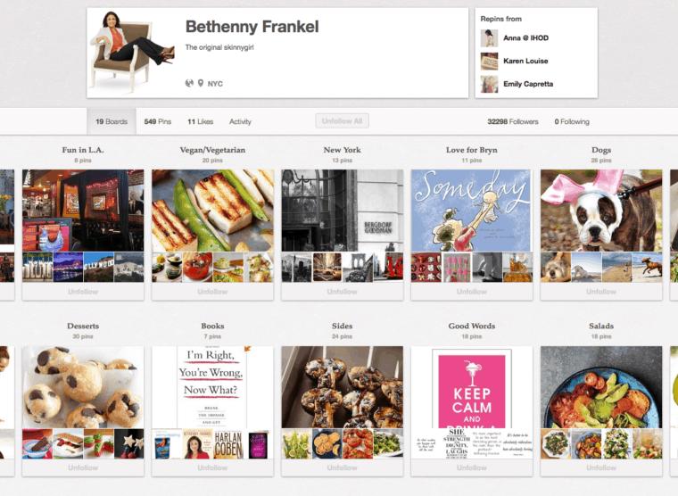 Bethenny Frankel Pinterest Page