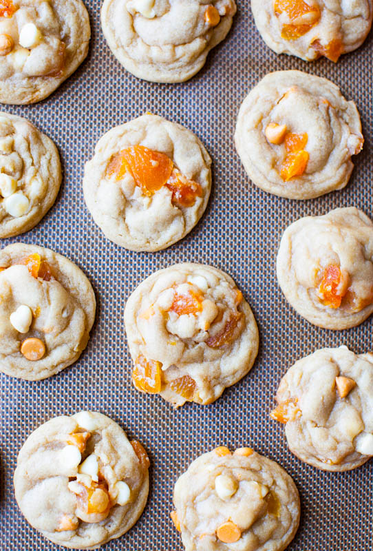 Apricot Butterscotch Peanut Butter-Filled Sandwich Cookies cooked on pan