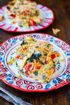 Spinach Artichoke and Roasted Red Pepper Cheesy Squares