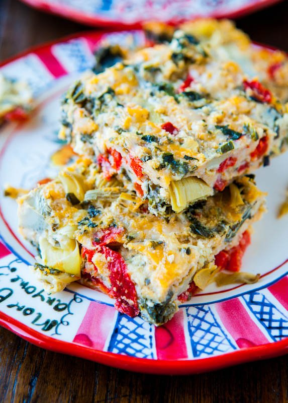 Spinach Artichoke and Roasted Red Pepper Cheesy Squares - Averie Cooks