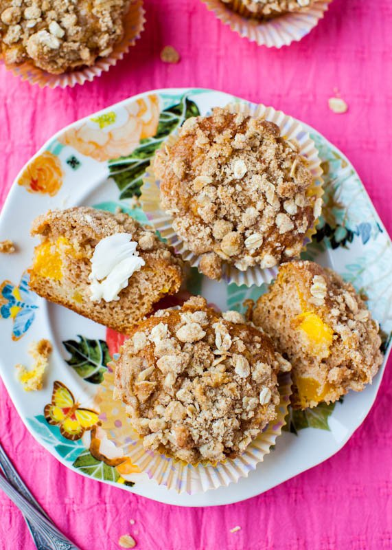 Mango and Sour Cream Muffins with Streusel Topping