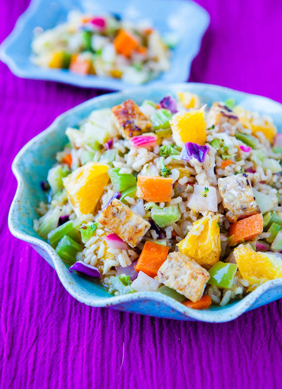 Orange Ginger Tempeh and Brown Rice Salad with Orange Balsamic Vinaigrette