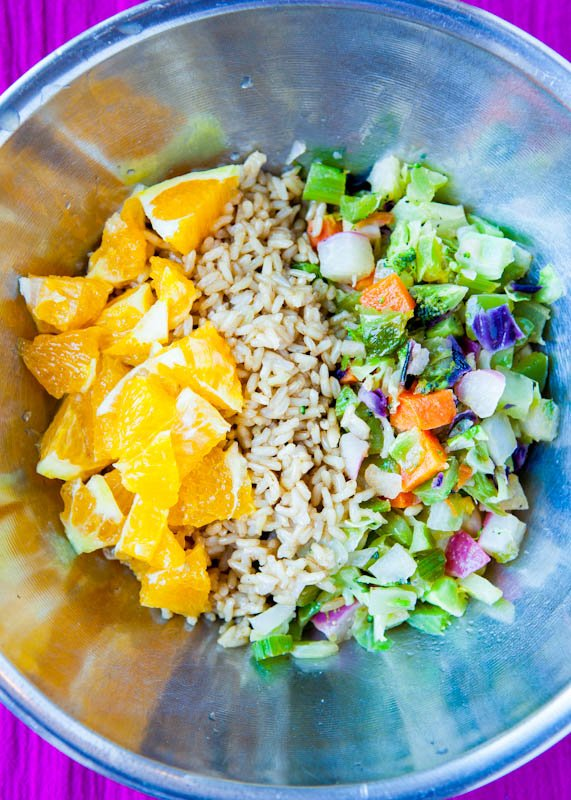 Orange Ginger Tempeh and Brown Rice Salad deconstructed